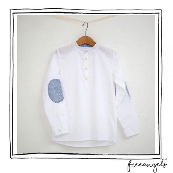 camicia bimbo in cotone bio toppe lino blu