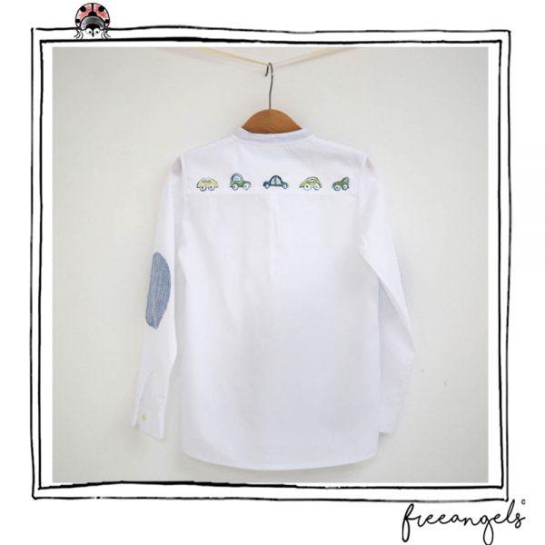 camicia bimbo in cotone bio toppe lino blu retro